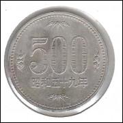 Japão, 500 Yen, 1989/99, cuproníquel, mbc. Flores.