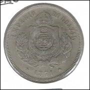 1871 - Brasil-Império, Dom Pedro II, 200 Réis, cuproníquel, MBC+.