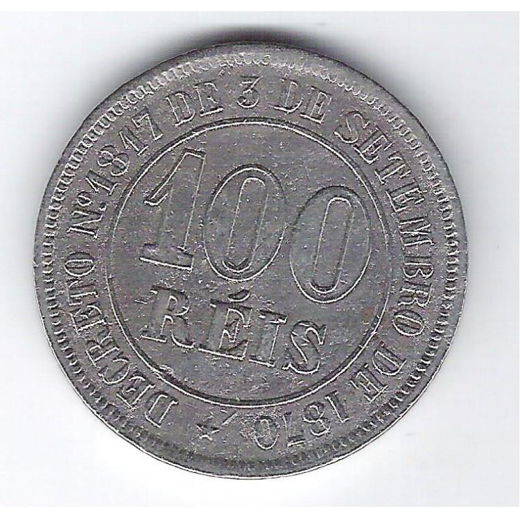 1874 - Brasil-Império, Dom Pedro II, 100 Réis, cuproníquel, mbc.