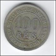 1883 - Brasil-Império, Dom Pedro II, 100 Réis, cuproníquel, mbc+.