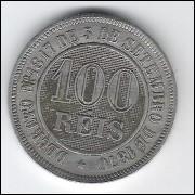 1886 - Brasil-Império, Dom Pedro II, 100 Réis, cuproníquel, mbc+.