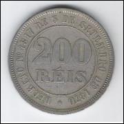 1884 - Brasil-Império, Dom Pedro II, 200 Réis, cuproníquel, MBC+.