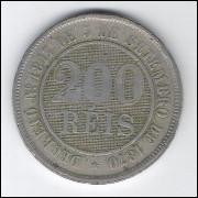 1889 - Brasil-Império, Dom Pedro II, 200 Réis, cuproníquel, MBC.