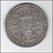 1813 B - 960 Réis (Patacão), prata, mbc , Brasil-Colônia, D.João.