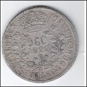 1820 R - 960 Réis (Patacão), prata, mbc , Brasil-Reino Unido, D.João VI.
