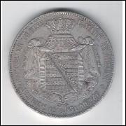 Alemanha - Saxônia - 2 Thaler, 1851, mbc++, prata .900