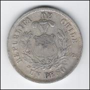 Chile, 1 Peso, 1882, prata .900, mbc/s.