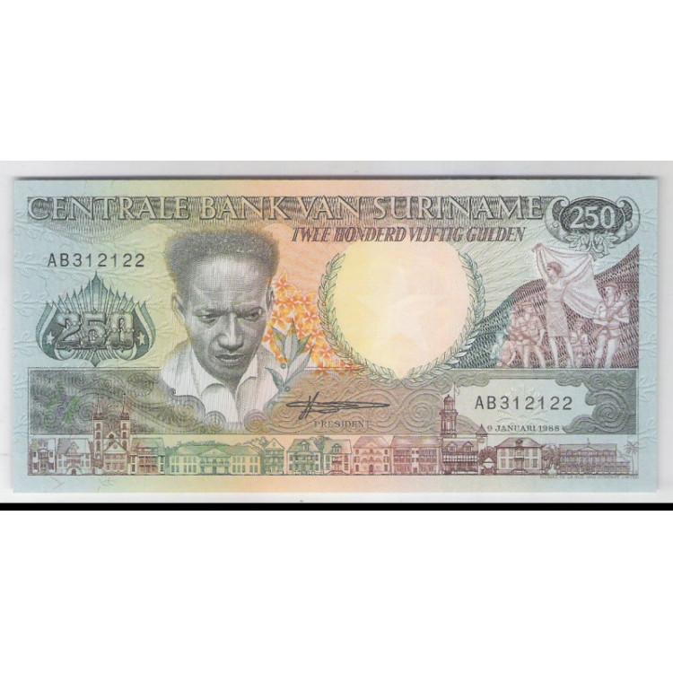 Suriname - (P.134b) 250 Gulden, 1988, fe.