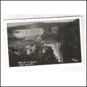 FI01 - Cartão postal antigo, Cataratas do Iguassú. Saltos brasileiros. Foto Weiss.