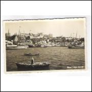 SA16 - Cartão postal antigo, Salvador, Elevador Lacerda ao fundo à esquerda, barcos.