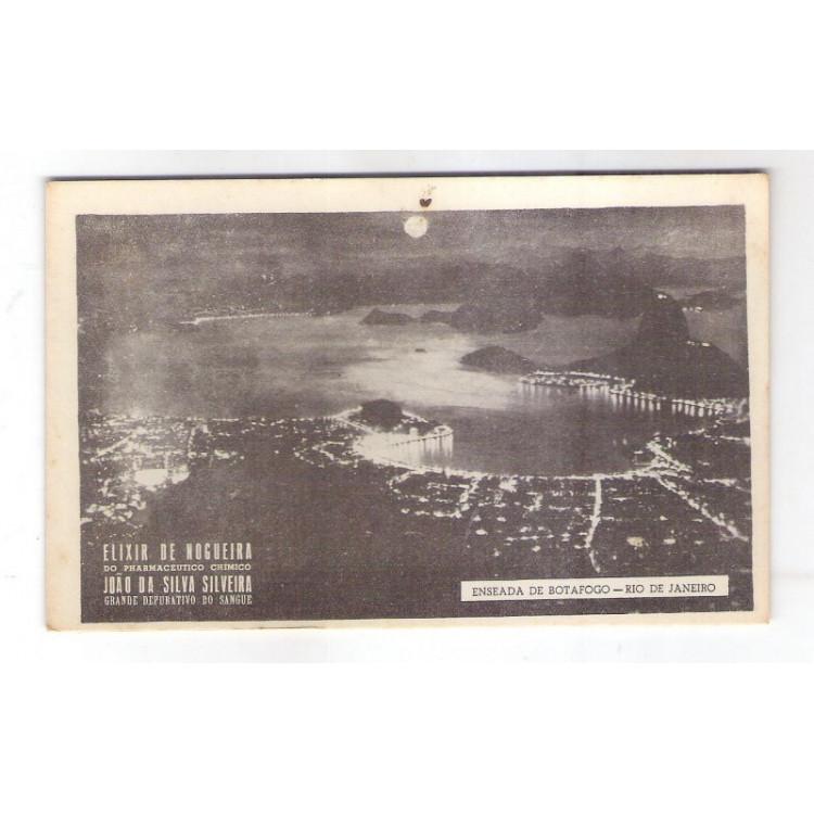 RJ108 - Cartão postal antigo, Rio de Janeiro, Enseada de Botafogo. Propaganda Elixir de Nogueira.