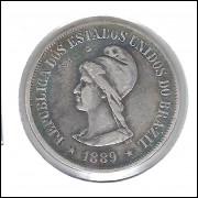 1889 - 500 Réis, prata, mbc, Brasil-República.