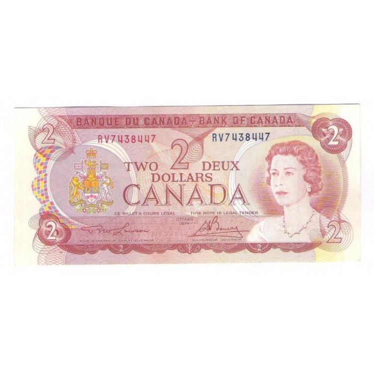 Canada - (P.86a) 2 Dollars, 1974, fe. Rainha Elizabeth II.