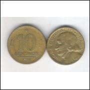 1953 -  10 Centavos, bronze-alumínio, mbc. José Bonifácio.