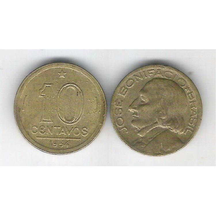 1954 -  10 Centavos, bronze-alumínio, mbc. José Bonifácio.