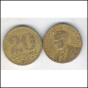 1943 -  20 Centavos, bronze-alumínio, mbc. Getúlio Vargas.