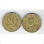 1944 -  20 Centavos, bronze-alumínio, com sigla, mbc. Getúlio Vargas.