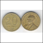 1947 - 20 Centavos, bronze-alumínio, mbc. Getúlio Vargas.