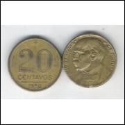 1950 - 20 Centavos, bronze-alumínio, mbc. Rui Barbosa.