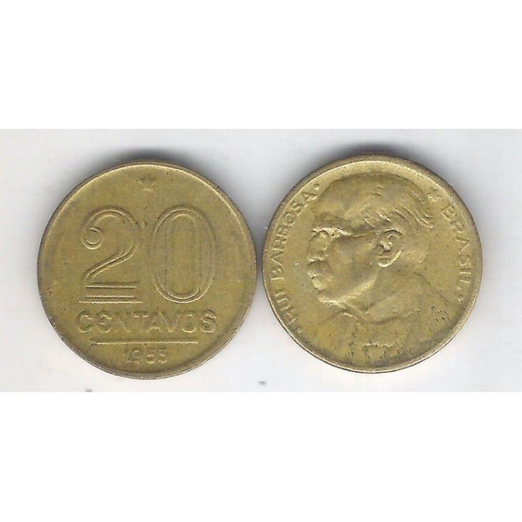 1953 - 20 Centavos, bronze-alumínio, FC. Rui Barbosa.