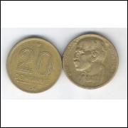 1954 - 20 Centavos, bronze-alumínio, mbc. Rui Barbosa.