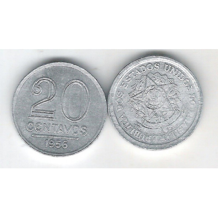 1956 - 20 Centavos, alumínio, FC.