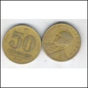 1944 - 50 Centavos, bronze-alumínio, com sigla, mbc. Getúlio Vargas.