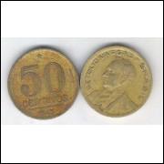 1945 - 50 Centavos, bronze-alumínio, mbc. Getúlio Vargas.