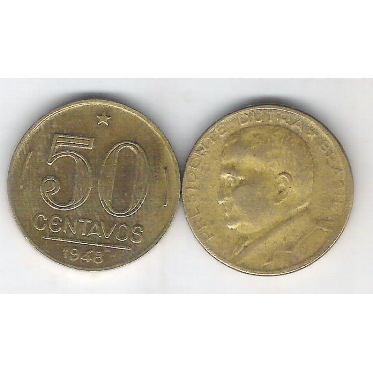 1948 - 50 Centavos, bronze-alumínio, mbc. Presidente Dutra.