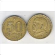1950 - 50 Centavos, bronze-alumínio, mbc. Presidente Dutra.