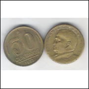 1953 - 50 Centavos, bronze-alumínio, mbc. Presidente Dutra.