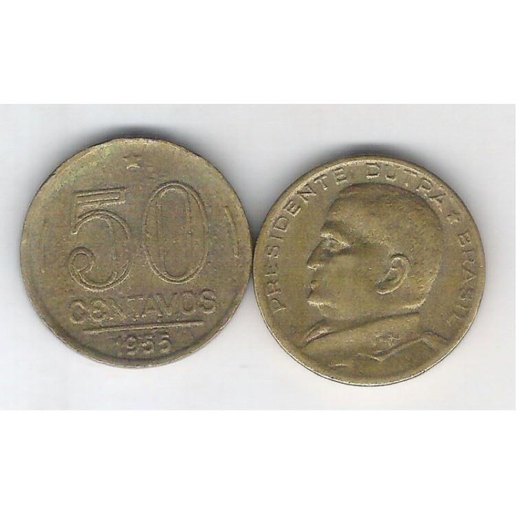 1955 - 50 Centavos, bronze-alumínio, mbc. Presidente Dutra.