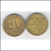 1943 - 1 Cruzeiro, bronze-alumínio, mbc.