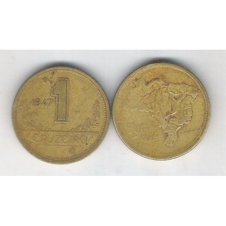 1947 - 1 Cruzeiro, bronze-alumínio, mbc.