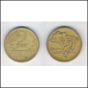 1943 - 2 Cruzeiros, bronze-alumínio, com sigla, mbc.
