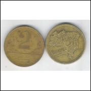 1947 - 2 Cruzeiros, bronze-alumínio, mbc.
