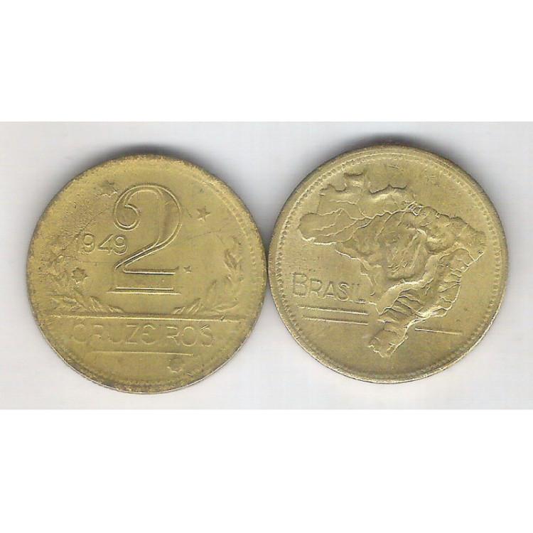 1949 -2 Cruzeiros, bronze-alumínio, FC.