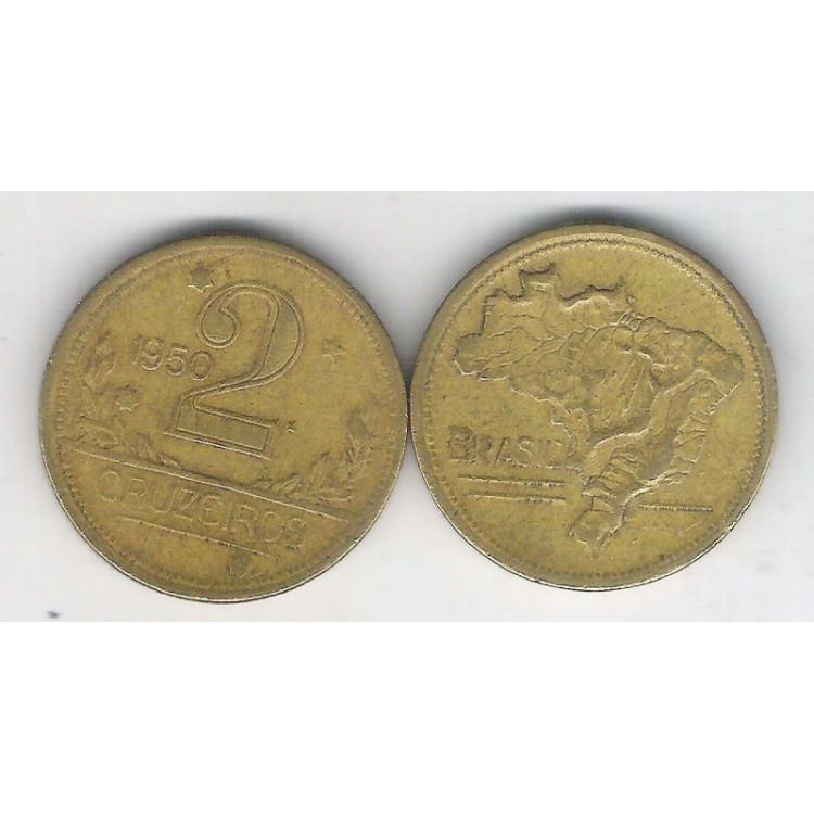 1950 - 2 Cruzeiros, bronze-alumínio, mbc.