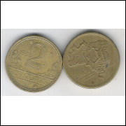1953 - 2 Cruzeiros, bronze-alumínio, mbc+++.