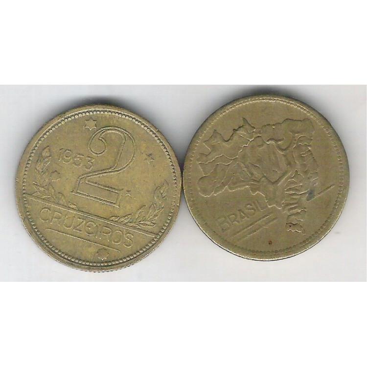 1953 -2 Cruzeiros, bronze-alumínio, mbc+++.