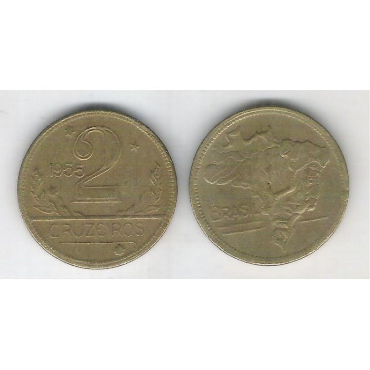 1955 - 2 Cruzeiros, bronze-alumínio, mbc.