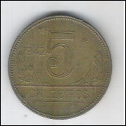 1942 - 5 Cruzeiros, bronze-alumínio, mbc-s.