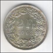 Suíça, 2 Francs, 1963, prata .835, fc.