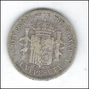 Espanha, 1 Peseta, 1894 - Prata - Diâmetro: 23 mm.