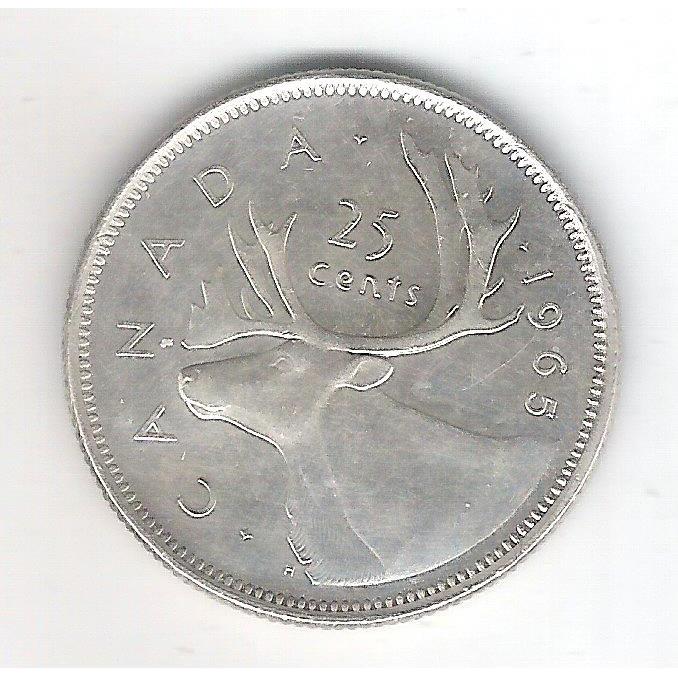 Canada, 25 Cents 1965, Prata .800, Diâmetro: 24 Mm - 5,8 g . Fauna