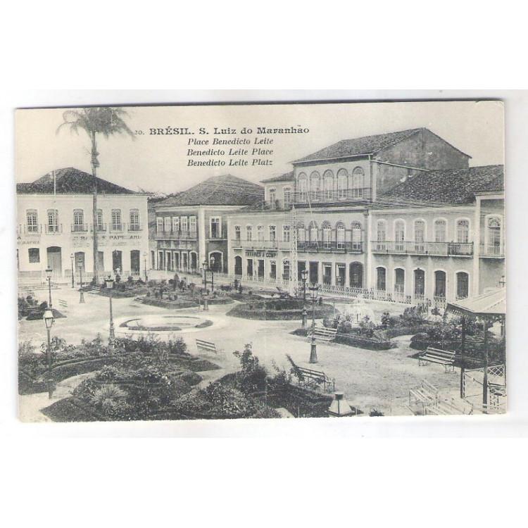 SL01 - Cartão postal antigo, São Luiz do Maranhão, Praça Benedito Leite.
