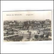 uu01 - Cartão postal antigo, Uruguaiana, Praça da Rendição.