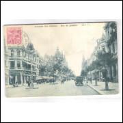 RJ111 - Cartão postal antigo, circulado em 1921, Avenida Rio Branco, Rio de Janeiro.
