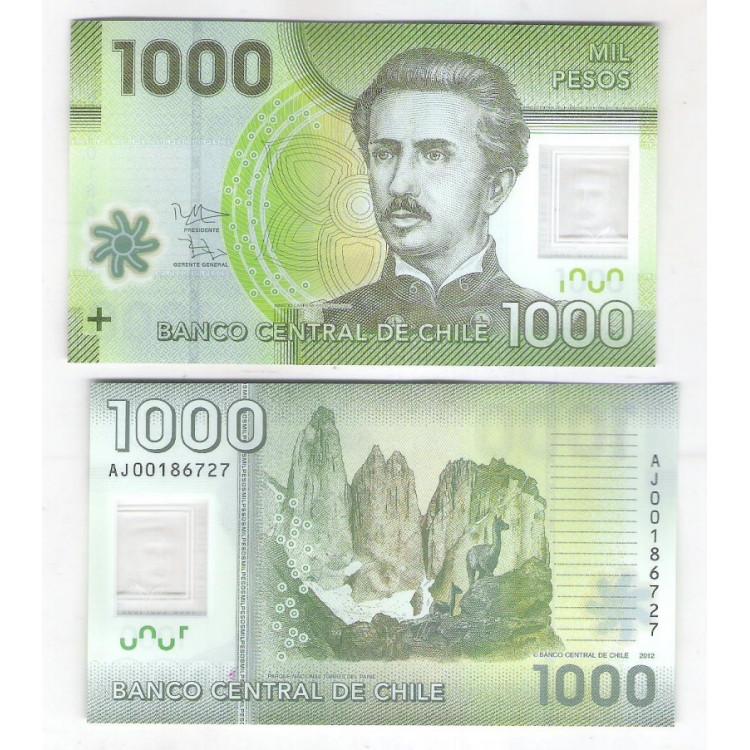 Chile - (P.161) 1.000 Pesos, 2012 AJ , fe. Polímero. Ignacio Carrera Pinto. Fauna,flora.