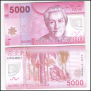 Chile - (P.163) 5000 Pesos, 2013 AD, fe. Polímero. Personalidade, Gabriela Mistral. Coruja.